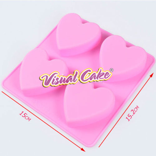 Silicone Mold for Mini cakes Heartsx4
