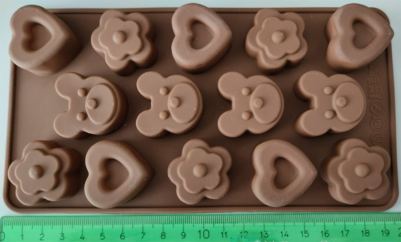 bear flower hearts silicone mold